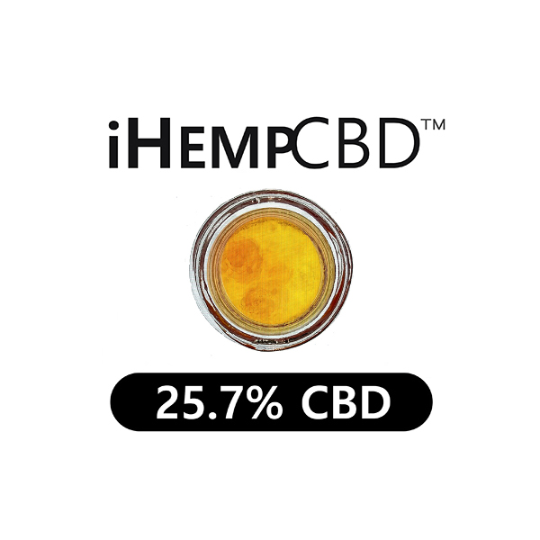 circular Jar of IHEMPCBD CBD DABS 25.7% CBD from top looks full and yellow
